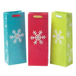 Assorted Sparkling Snowflake Wine Bag