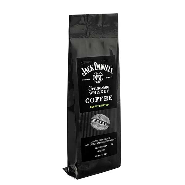 This unique blend of gourmet Jack Daniel's Tennessee Whiskey Coffee Decaffeinated 1.5 oz Gift Bag is 100% Arabica, infused with authentic Jack Daniels Tennessee Whiskey, and roasted medium to provide a full-bodied rich flavor.